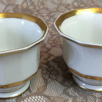 2 Ahrenfeldt Limoges Footed Cups, Antique White & Gold Porcelain Coffee or Teacups