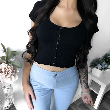 FULLY STOCKED - Briana Button Down Crop Top