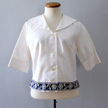 60s sailor blouse - vintage nautical white navy blue shirt ship wheel anchor print crop top mid century mod button down tunic flap collar