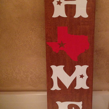 HOME Texas Ceramic Tile - Western Texas Wooden Sign - Wooden Look Ceramic Tile Texas Home Sign - ANY STATE Home Ceramic Wood Tile Sign