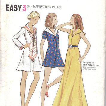 Butterick Retro Vintage Sewing Pattern Maxi Mini Dress Sailor Collar A-line Long Sleeve Butterick 6705 Uncut Bust 32