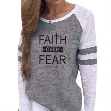 Faith Over Fear Women's Baseball Jersey Christian Semi-Fitted Long Sleeve Shirt