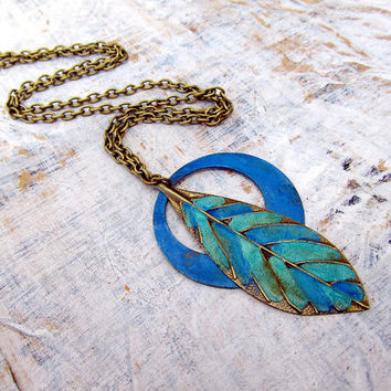 Long Bohemian necklace metal feather Native Pride tribal necklace