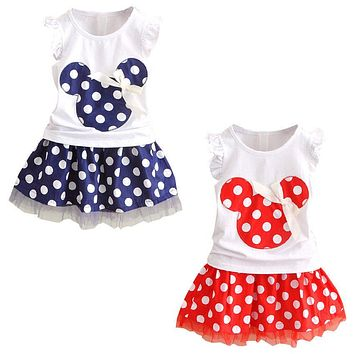 Minnie Mouse Clothes Set Kids Baby Girls Summer Outfits Clothes Sleeveless T-shirt Tops Polka Dot Tutu Skirt Party