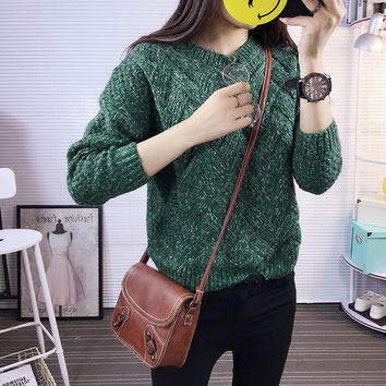 Dropped Shoulder Scoop 3/4 Sleeves Solid Pullover Sweater