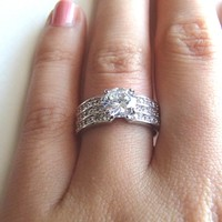 1ct  Vintage Style Solitaire Cubic Zirconia Diamond Ring - Simulated Diamond