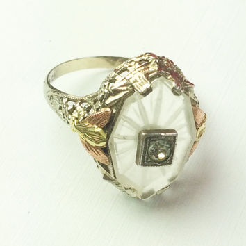 Rock Crystal, Camphor Glass Ring, 10K Gold Art Deco 1920s Vintage Fine Jewelry