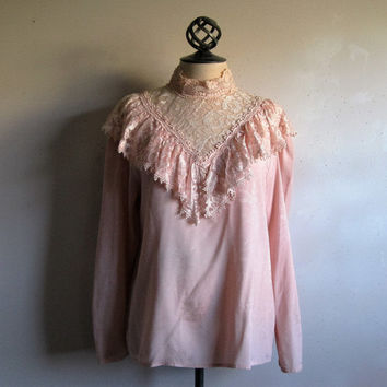 Vintage Early 90s Blouse Pink Jacquard Ruffle Crochet Lace High Collar 1990s Ladies Blouses Large 12