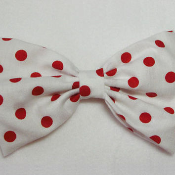 Polka Dot Hair Clip For Women - Polka dot hair bow for girls lady hair bow fabric hair bow adult bow women bow teens hair bow white red dots