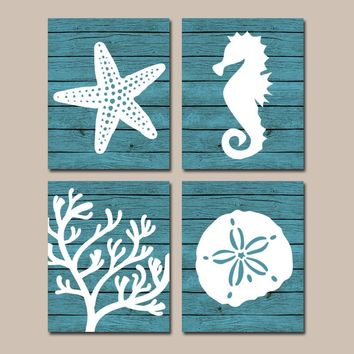 Beach BATHROOM Wall Art, CANVAS or Prints, Nautical Coastal Bathroom Decor, Aqua Starfish Seahorse, Coral Reef, Wood Plank Design, Set of 4