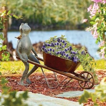 Frog and Bird Wheelbarrow Planter Metal Garden Sculpture Flower Holder SPI Home