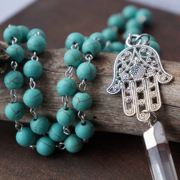 Turquoise Crystal Quartz Hamsa Necklace // Beaded Rosary Chain // Gemstone Jewelry // Hamsa Hand Jewelry // Clear Quartz Long Necklace