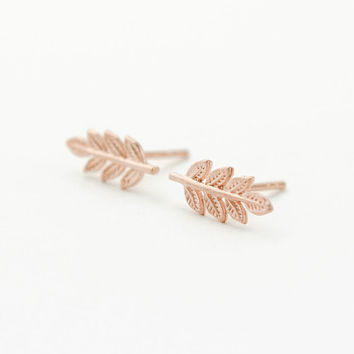 Gold Leaves Stud Earrings, Matte Rose Gold, Leaves Post Earring, Minimalist Earring, Nature, Modern Jewelry, Hand Made, Valentine Gift,ST036
