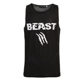 Beauty and Beast Couple Vest  Men Bodybuilding Fitness Tank Top Workout  Print Vest Stringer Sportswear Undershirt