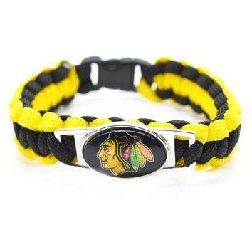 2017 New Hockey Bracelet NHL Chicago Blackhawks Charm Braided Bracelet for Men Women Love Bracelet Jewelry Gifts
