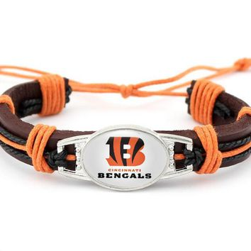 Fashion sports Cincinnati Bengals Football Team Leather Bracelet Adjustable Leather Cuff Bracelet For Men and Women Fans Jewelry
