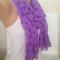 Purple Chiffon Scarf - Animal Printed Long Scarf - Neon Purple Zebra Printed Shawl - Pashmina