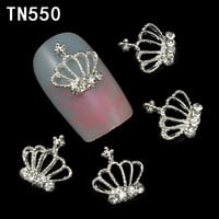 10pc lot Glitter Alloy Silver Crown Nail Art With Rhinestones Charms Rhinestones For Nails 2015 New Fashion TN550