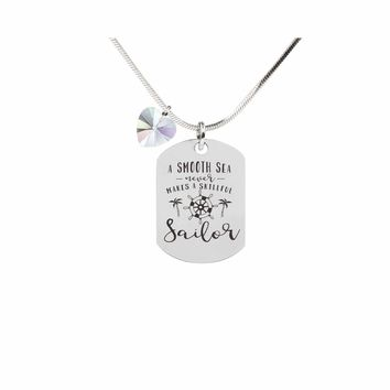 Inspirational Tag Necklace In AB Made With Crystals From Swarovski  - SAILOR