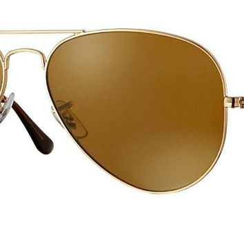 Ray Ban RB3025 Polarized Metal Aviator Sunglasses Aviator + FREE Eyewear Care Kit