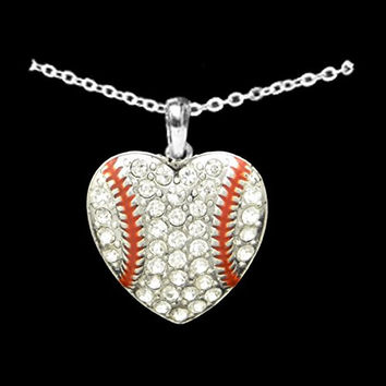 BASEBALL Heart Necklace is Embellishedwith Clear Crystal Rhinesttones & arrives on an 18 inch Chain.Gift Boxed.Show your pride in your Loved One's Sport & Accomplishments