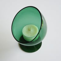 Vintage Slant Top Glass Candle Holder - Mid Century - Emerald Green Glass