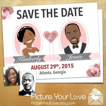 Save The Date Magnets: Floral Save The Dates, Custom Cartoon Portraits, Couple Caricatures, Wedding Illustrations, Cute Save The Dates