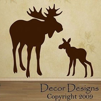 Mom And Baby Moose Vinyl Wall Decal Sticker