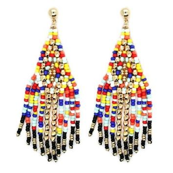 Indian Beaded Fringe Earrings