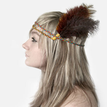 Feather Headband Indian Braided Yarn Ostrich by narrowAvenue