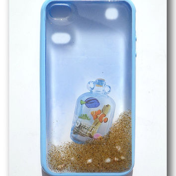 iPhone 4/4s case, Resin with Real Sand ,shell ., Aquarium