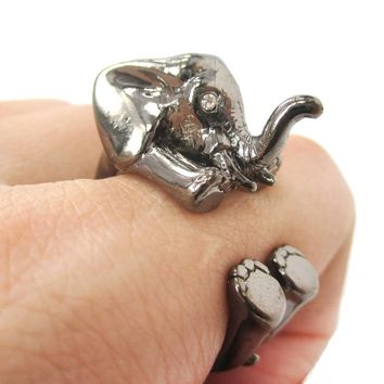 3D Realistic Baby Elephant Animal Wrap Around Ring in Gunmetal Silver | US Sizes 5 to 8.5