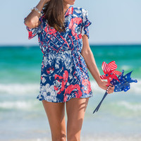 Partial To Petals Romper, Blue-Red