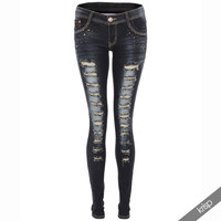 Womens Ladies Light Ripped Denim Sexy Slim Skinny Fit Leg Jeans Trousers Pants