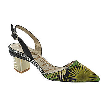 Sam Edelman Carol Slingback Pointed-Toe Kitten Pumps - Green/Multi