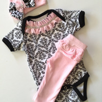 Newborn baby girl take me home damask bodysuit pink pant outfit ruffles with rhinestones matching beanie