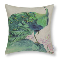 Peacock Throw Pillow Case Cushion Cover Home Sofa Decorative