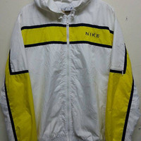 sale Vintage Nike Swoosh Colour Block Style Hip Hop Indie Pull Over Sweater Jacket