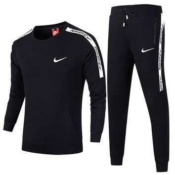 NIKE 2018 autumn and winter new sports and leisure running clothes two-piece Black