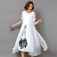 Spring Summer White Black Ink Print Women Long Dress Retro Short Sleeve Cotton Linen Designs Casual Dresses Slim
