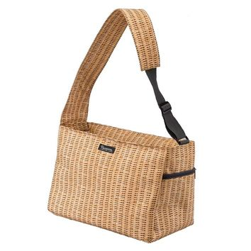 Perfect Faux Wicker Picnic Cooler Shoulder Tote Bag