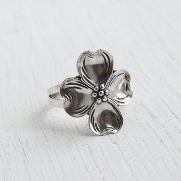 Vintage Sterling Silver Dogwood Ring - Beau Adjustable Floral Costume Jewelry / Mid Century Flower
