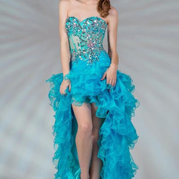 PRIMA C13858 Blue High Low Prom Dress