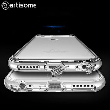 Case For iPhone 6 6S Crystal Clear Cover Soft Silicone TPU Phone Cover Dust Plug For iPhone 6 Plus 6S Plus Case Coque ARTISOME