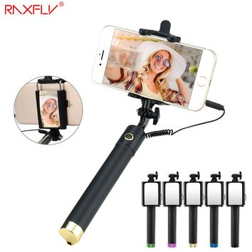 RAXFLY Selfie Stick Monopod Wired Handheld Universal Mirror Extendable Self timer Stick Mini Selfie Stick For iPhone Samsung S7