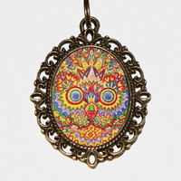 Trippy Cat Necklace, Louis Wain, Psychedelic, Groovy, Cat Jewelry, Oval Pendant