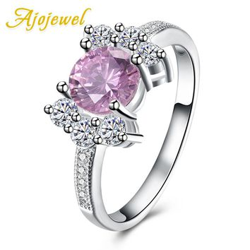 Ajojewel Pink Engagement Ring Silver Plated Jewelry Zirconia Stone Rings For Women Trendy Fashion Party Gift