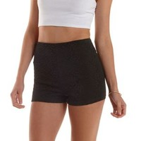 Black Lace-Topped High-Waisted Shorts by Charlotte Russe