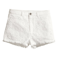 H&M - Lace-trimmed Twill Shorts - White - Ladies