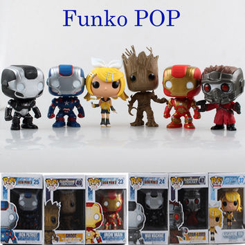 Funko POP Marvel Patriot Iron Man Guardians of the Galaxy Action Figure Groot Rocks Vinyl Bobble Head Toy Collectible Gift
